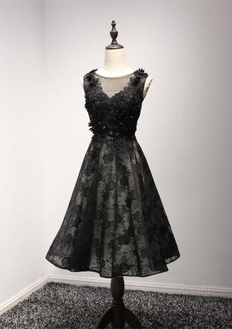 Black Lace Homecoming Dress, Short Prom Dresses For Teens pst1642