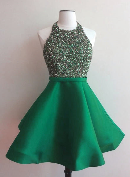 Green Homecoming Dress with Top Beading, Back To School Dress, Short Prom Dresses For Teens pst1662