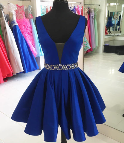 Blue Homecoming Dress,Back To School Dress,Short Prom Dresses For Teens pst1654