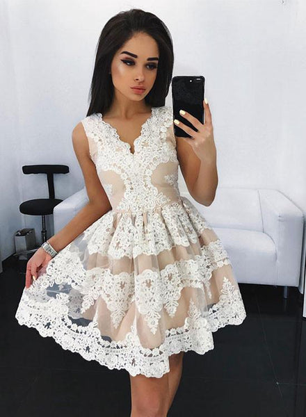 Lace Homecoming Dress,Back To School Dress,Short Prom Dresses For Teens pst1653