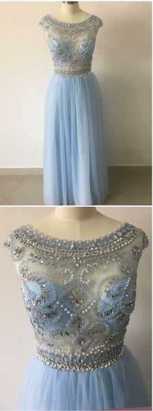 Light Blue Prom Dress Long 2018 Prom Dresses Graduation Party Dresses Formal Wear pst1737