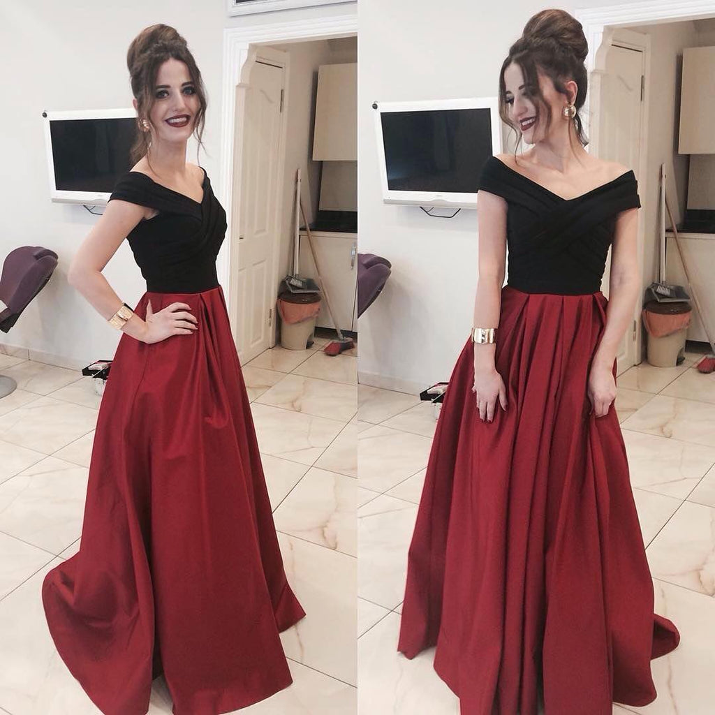 Black and Burgundy Prom Dress Long 2018, Prom Dresses, Graduation Party Dresses, Formal Wear, Pageant Dress pst1748