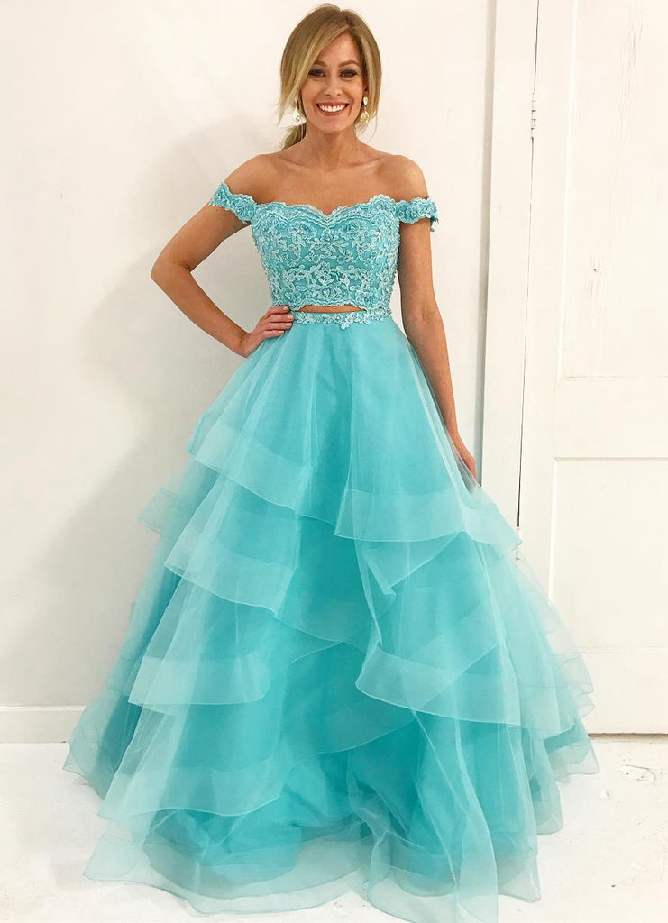 Two Pieces Prom Dress Long 2018 Prom Dresses Graduation Party Dresses Formal Wear pst1742