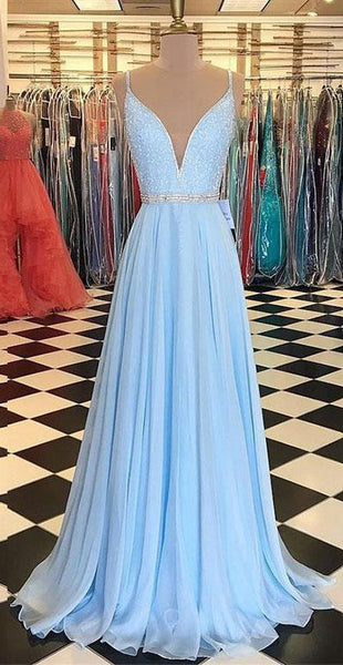 Light Blue Prom Dress Long 2018, Prom Dresses, Graduation Party Dresses, Formal Wear, Pageant Dress pst1749