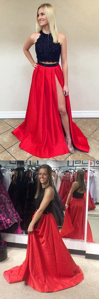 Black and Red Two Pieces Prom Dress, Prom Dresses, Graduation Party Dresses, Formal Wear, Pageant Dress pst1763