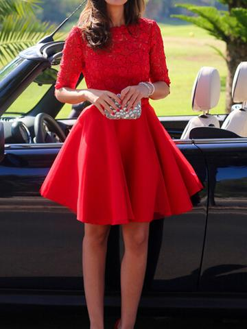 Red Homecoming Dress with Sleeves, Back To School Dress, Short Prom Dresses For Teens pst1657