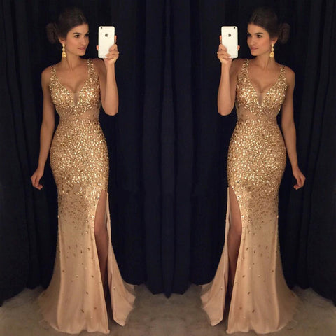 2018 Sexy Long Crystal Beaded Prom Dress With Slit Mermaid Prom Dresses Evening Gown Formal Wear pst1546