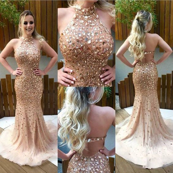 Halter Beaded Champagne Prom Dress, Graduation Party Dresses, Banquet Dresses, Formal Dresses