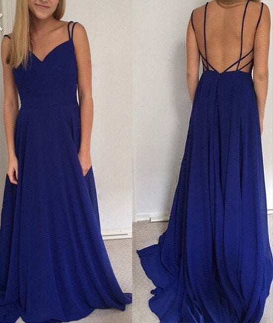 royal blue prom dresses with spaghetti straps, long prom gowns ...