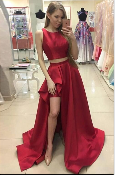 Two Pieces high slit prom dresses, 2017 prom dress, dresses for prom, Long prom dress