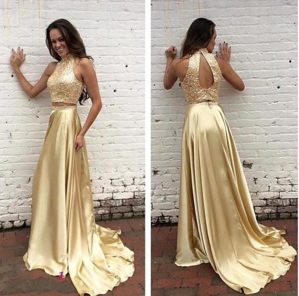 Two Pieces Gold Prom Dress Prom Dresses Graduation Party Dresses Formal Wear pst1712