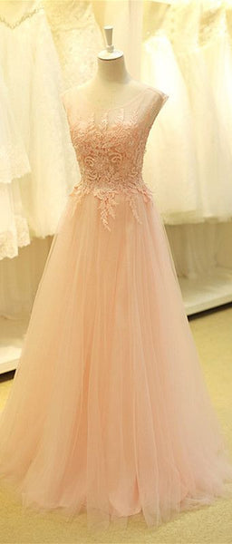 Floor Length Lace and Tulle Evening Dresses Applique Bodice pst0025