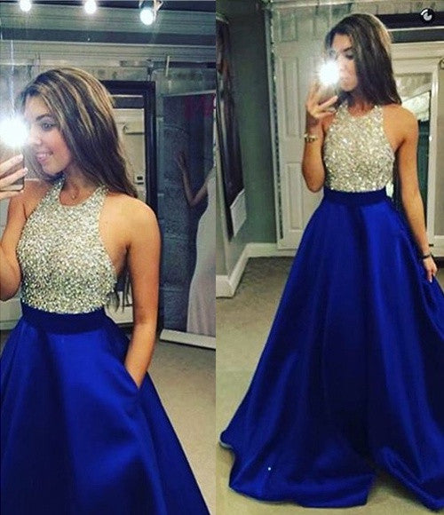 Floor Length Halter Sleeveless Beaded Bodice Prom Dresses pst0032