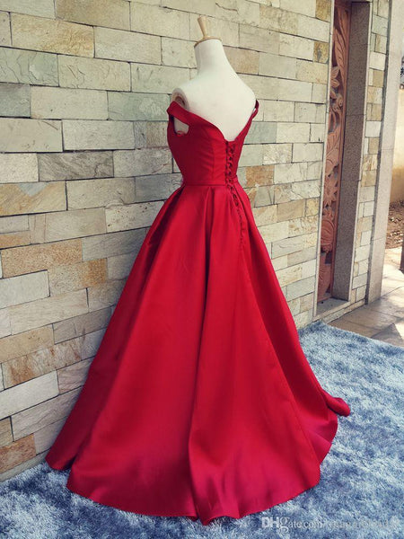 Off Shoulder Satin Prom Gowns Evening Dresses A Line pst0043