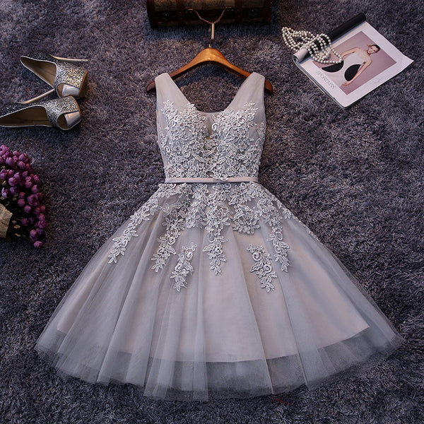 Short Lace Prom Gowns Cocktail Dresses Tulle Skirt pst0049