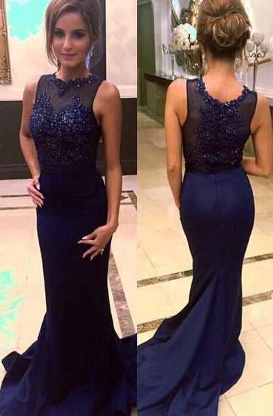 Dark Navy Lace Mermaid Celebrity Prom Gowns pst0086