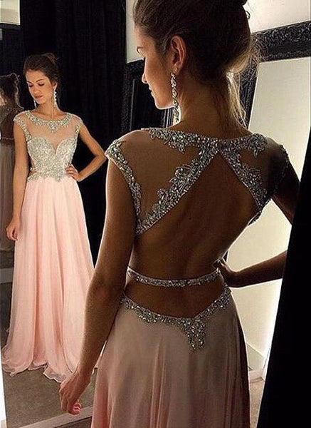 Sleeveless Beaded Prom Dresses Open Back Tulle Skirt pst0094