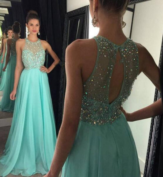 Halter Chiffon Prom Gowns Beads Keyhole Back pst0097