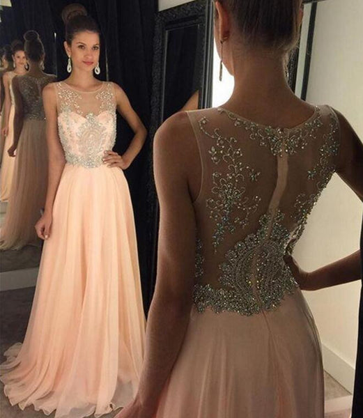 Chiffon and Beads Prom Dresses Illusion Neckline Zipper Back pst0104