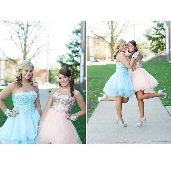 2016 Short Shiny Homecoming Dresses Prom Gowns pst0164