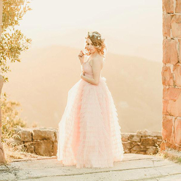 2016 Pearl Pink Ruched Tulle Prom Gowns Part Dresses pst0274