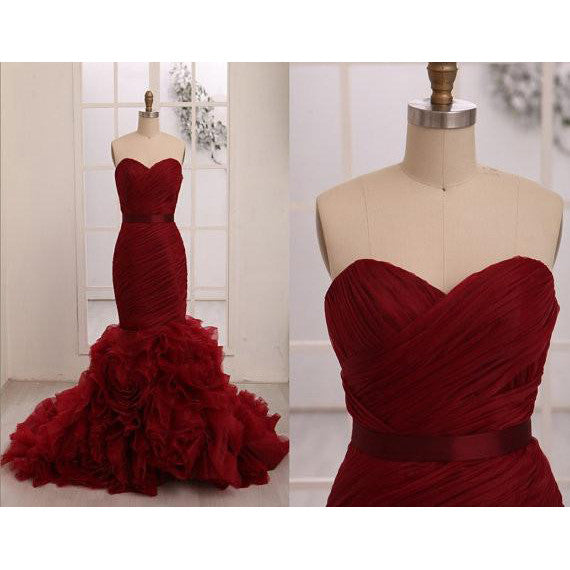 Burgundy Mermaid Tulle Prom Dresses pst0302
