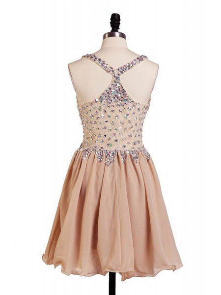Champange Short Homecoming Dress Beads Chiffon Prom Dresses pst0425
