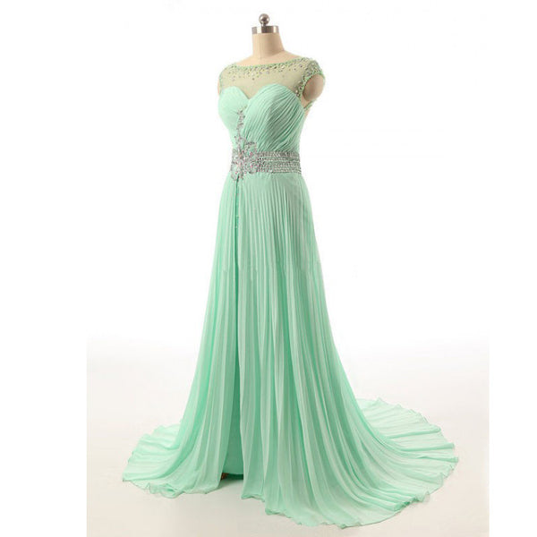 Chiffon Prom Gowns Illusion Neckline Beads Details pst0428