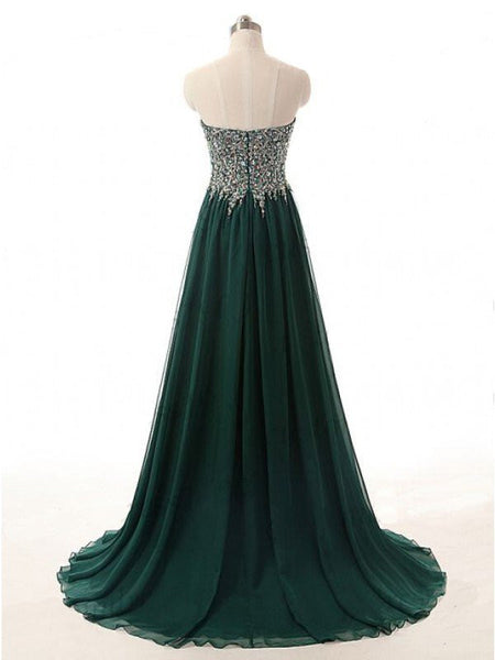 Chiffon Prom Gowns Beaded Bodice Celebrity Dresses Details pst0429
