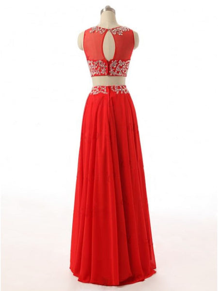 Two Piece Red Beads Prom Dresses Party Dresses pst0431