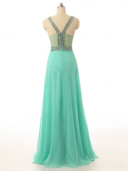 Chiffon Prom Gowns Beads Bodice pst0433