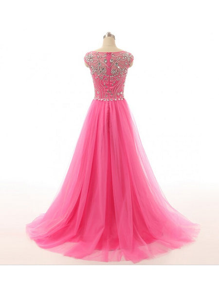 Long Prom Dresses Beaded Bodice Tulle Skirt pst0434