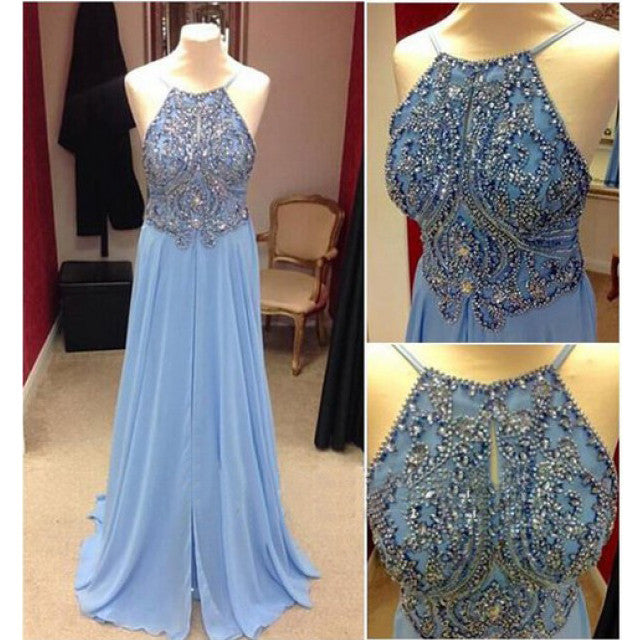 Beaded Floor Length Chiffon Prom Dresses pst0441
