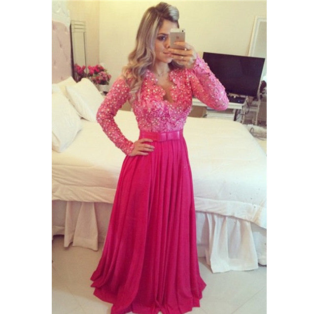 Chiffon Lace Prom Dresses with Long Sleeves pst0443