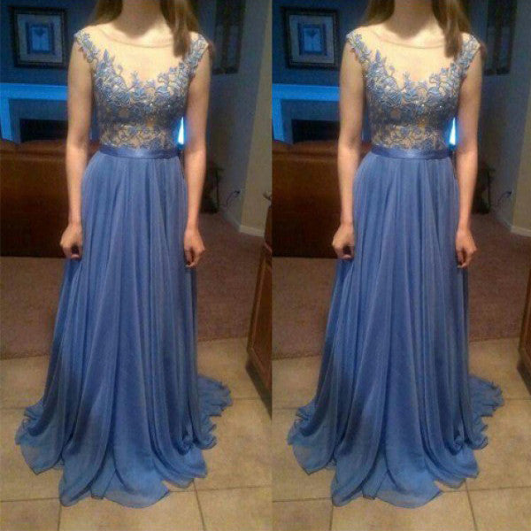 Fashion Long Prom Dress in Chiffon and lace pst0447