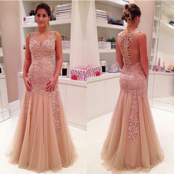 Champagne Color Evening Dress pst0453