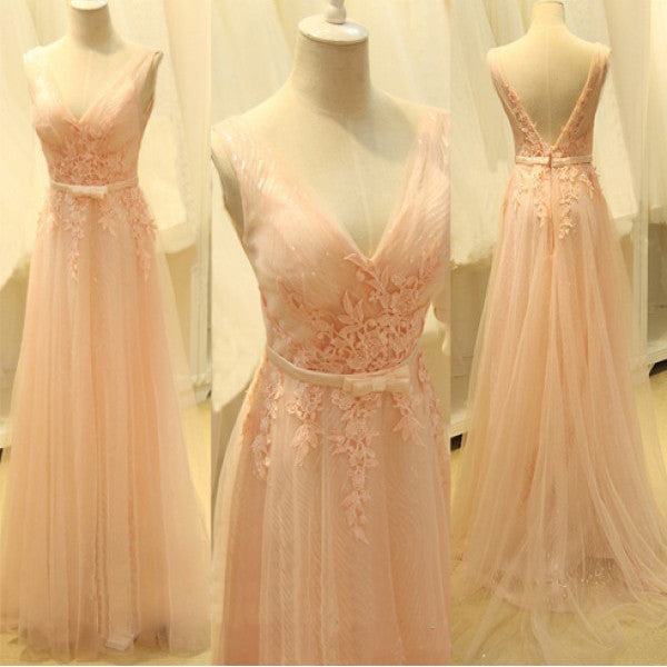Long Prom Dress with V Neckline pst0456
