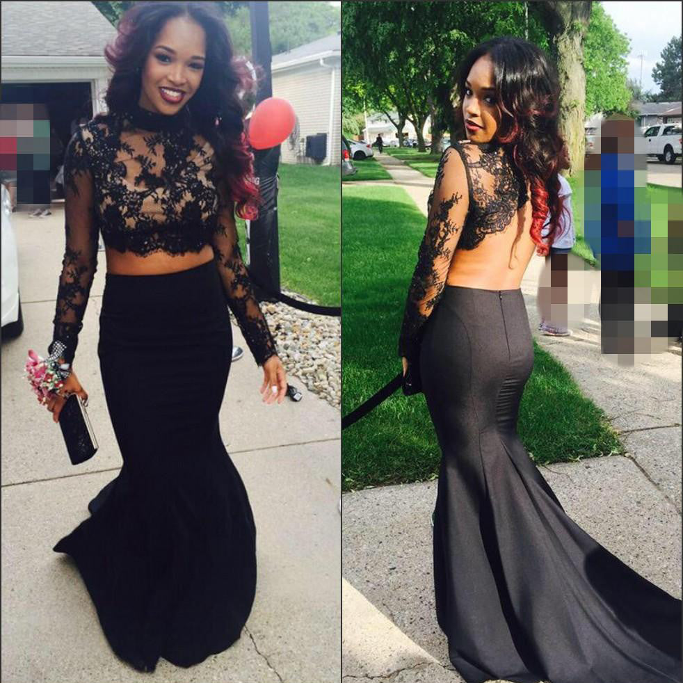 Black Prom Dress in Two Pieces pst0461