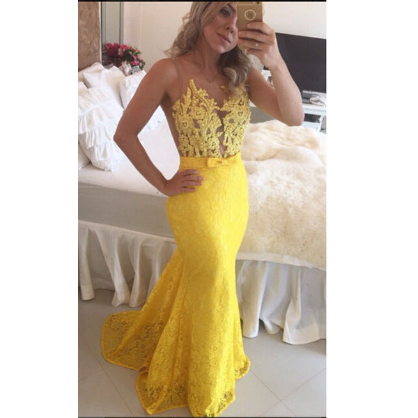 Yellow Lace Prom Dress Evening Party Dresses pst0486
