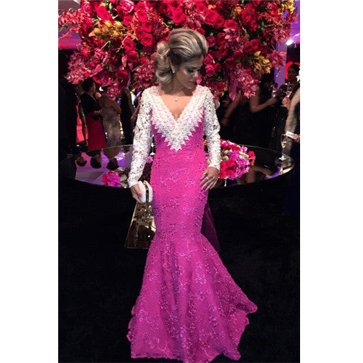 Mermaid Prom Dress Evening Dresses with Full Long Sleeves pst0493