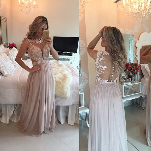 Fashion Prom Dress Illusion Back Prom Dresses Party Gown pst0497