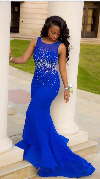 Royal Blue Prom Dress Backless Prom Dresses Party Gown pst0514