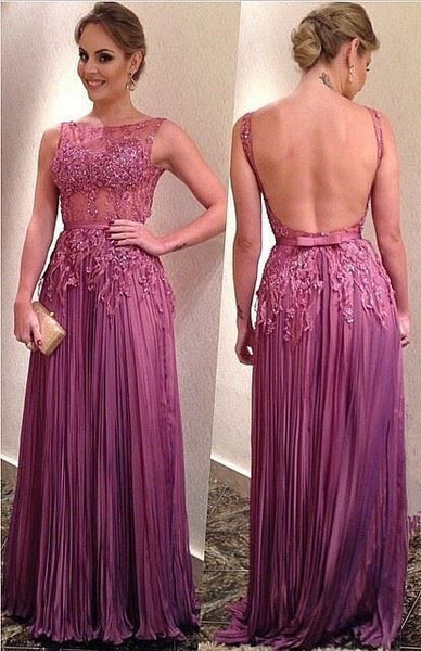 Backless Long Prom Dress Made to Order Color Free pst0518