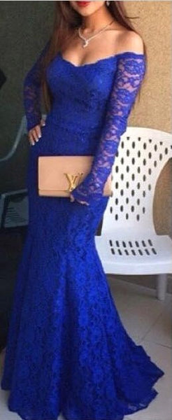 Royal Blue Prom Dress Evening Dresses in Lace pst0519