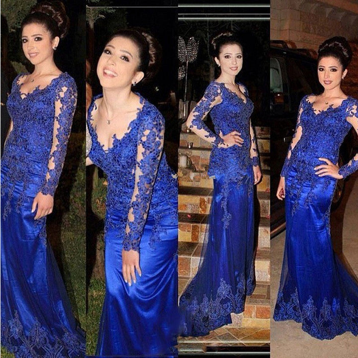Royal Blue Prom Party Dress with Sleeves pst0523