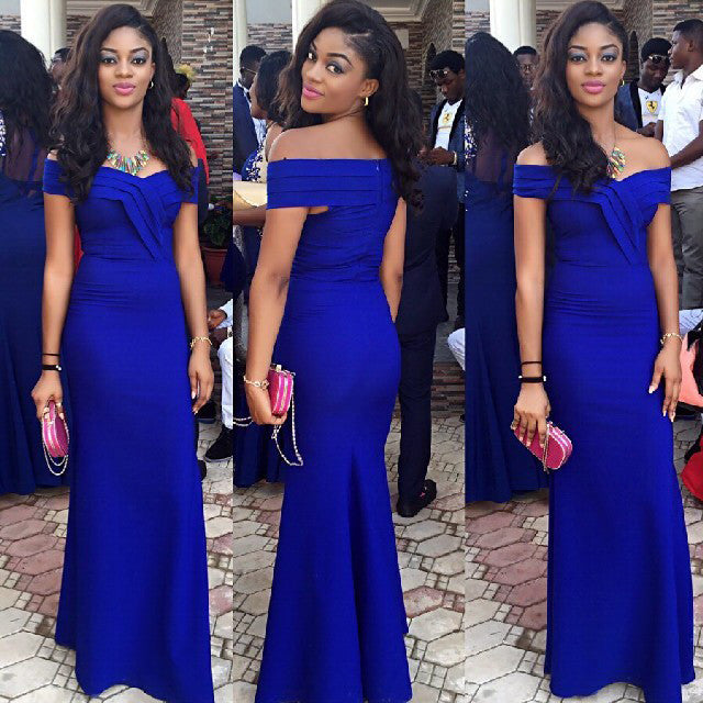 Royal Blue Prom Party Dress with Off The Shoulder Straps pst0534