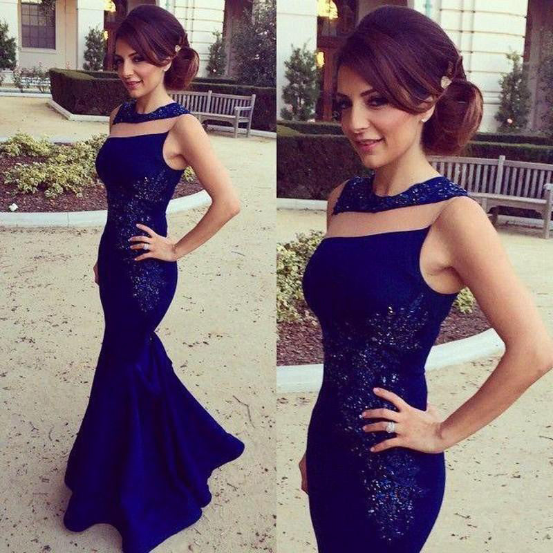 Deep Blue Color Mermaid Prom Dress Evening Party Gown pst0542