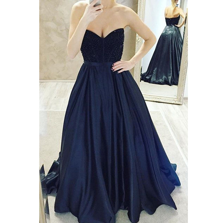 Navy Blue Party Dress Prom Gown pst0547