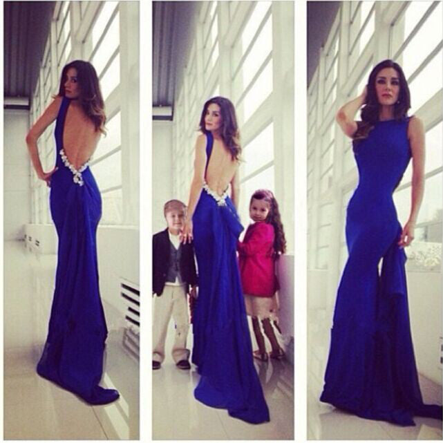 Mermaid Blue Color Shinning Prom Dress Evening Party Dress pst0569