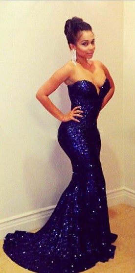 Mermaid Blue Color Shinning Prom Dress Evening Party Dress pst0570